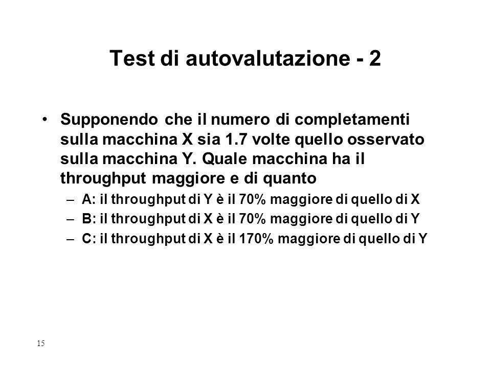 15 Test di autovalutazione - 2 Supponendo che il numero di completamenti sulla macchina X sia 1.7 volte quello osservato sulla macchina Y. Quale macch