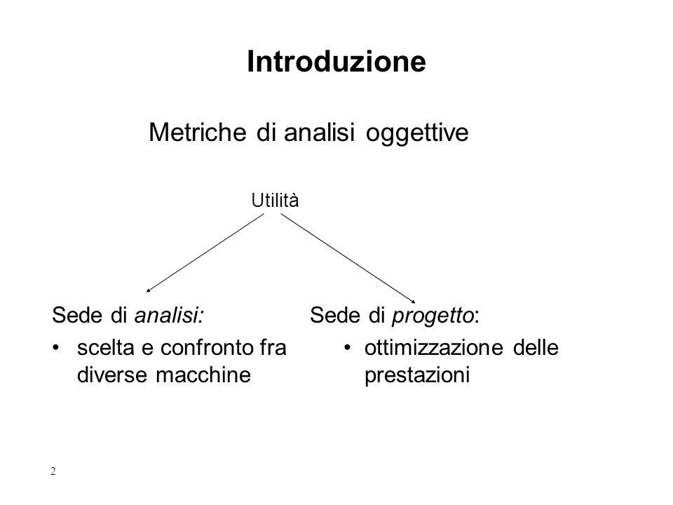 2 Introduzione Metriche di analisi oggettive Sede di analisi: scelta e confronto fra diverse macchine Sede di progetto: ottimizzazione delle prestazioni Utilità