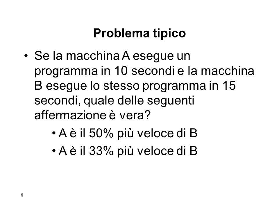 8 Se la macchina A esegue un programma in 10 secondi e la macchina B esegue lo stesso programma in 15 secondi, quale delle seguenti affermazione è vera.