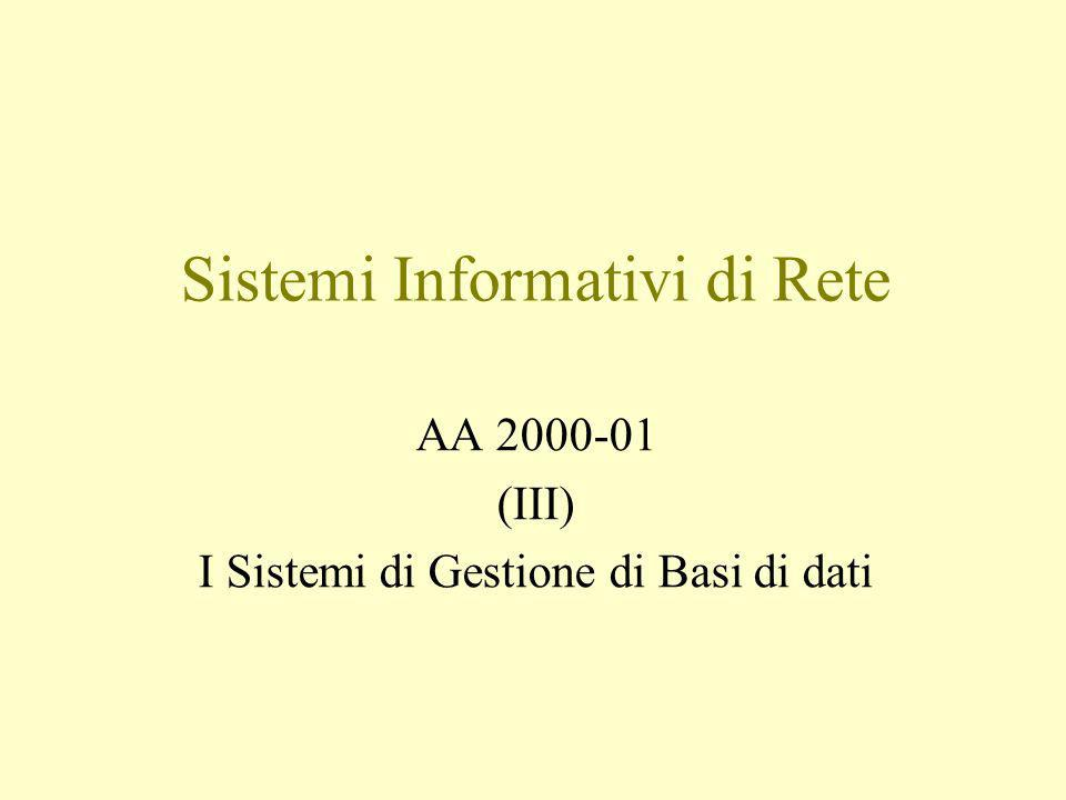 Sistemi Informativi di Rete AA 2000-01 (III) I Sistemi di Gestione di Basi di dati