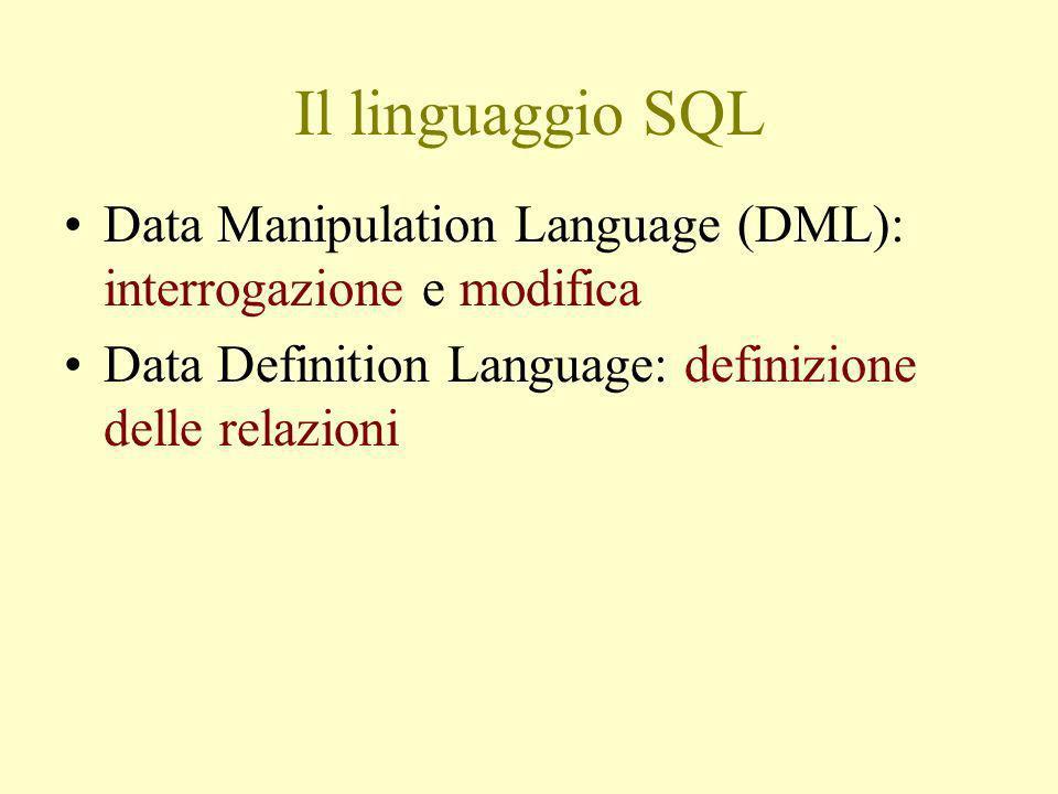 Il linguaggio SQL Data Manipulation Language (DML): interrogazione e modifica Data Definition Language: definizione delle relazioni