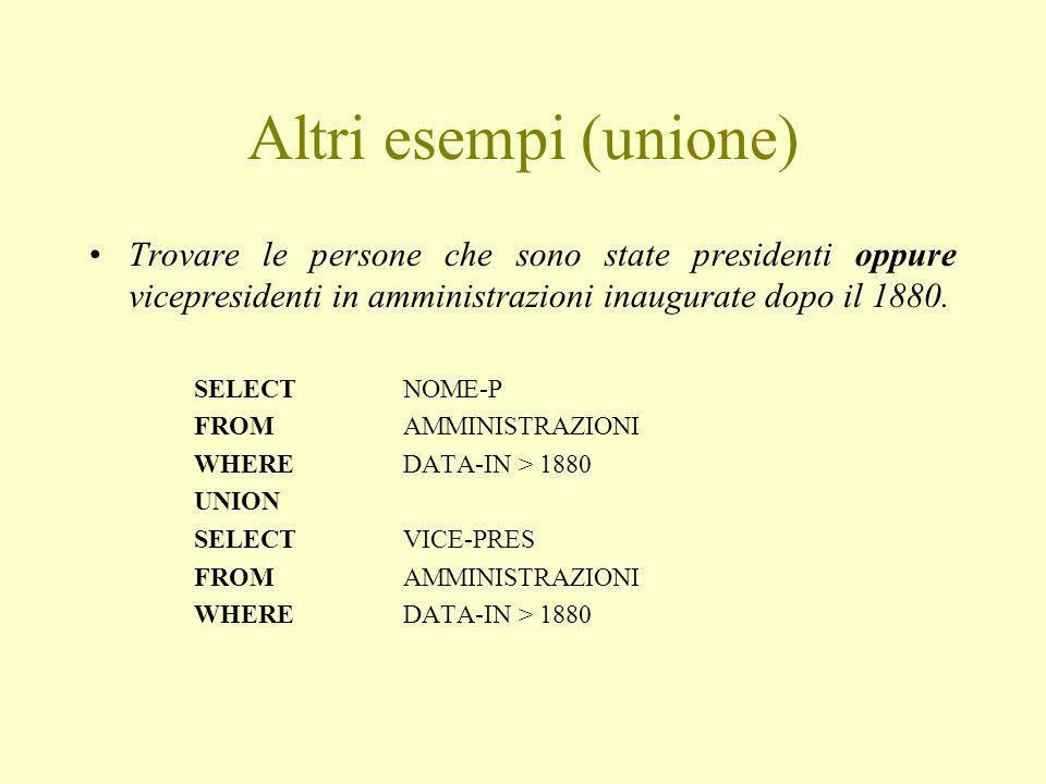 Altri esempi (unione) Trovare le persone che sono state presidenti oppure vicepresidenti in amministrazioni inaugurate dopo il 1880.