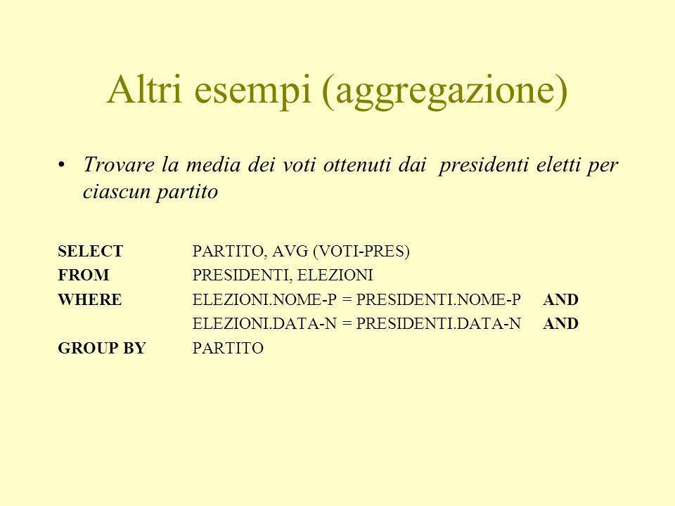 Altri esempi (aggregazione) Trovare la media dei voti ottenuti dai presidenti eletti per ciascun partito SELECT PARTITO, AVG (VOTI-PRES) FROM PRESIDENTI, ELEZIONI WHERE ELEZIONI.NOME-P = PRESIDENTI.NOME-P AND ELEZIONI.DATA-N = PRESIDENTI.DATA-N AND GROUP BY PARTITO