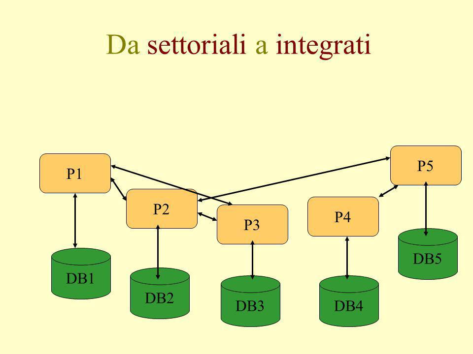 Da settoriali a integrati DB1 DB2 DB3DB4 DB5 P1 P2 P3 P4 P5
