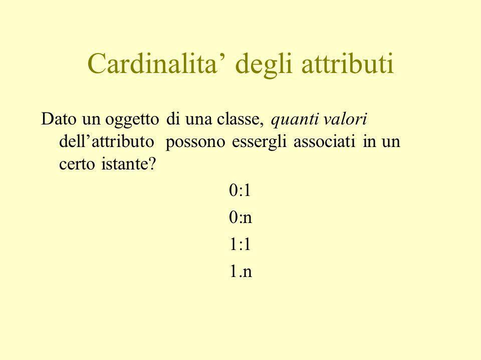 Cardinalita degli attributi Dato un oggetto di una classe, quanti valori dellattributo possono essergli associati in un certo istante.