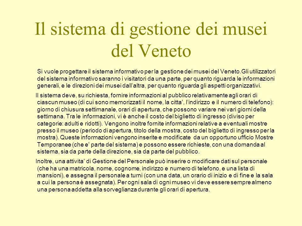 Il sistema di gestione dei musei del Veneto Si vuole progettare il sistema informativo per la gestione dei musei del Veneto.Gli utilizzatori del sistema informativo saranno i visitatori da una parte, per quanto riguarda le informazioni generali, e le direzioni dei musei dallaltra, per quanto riguarda gli aspetti organizzativi.