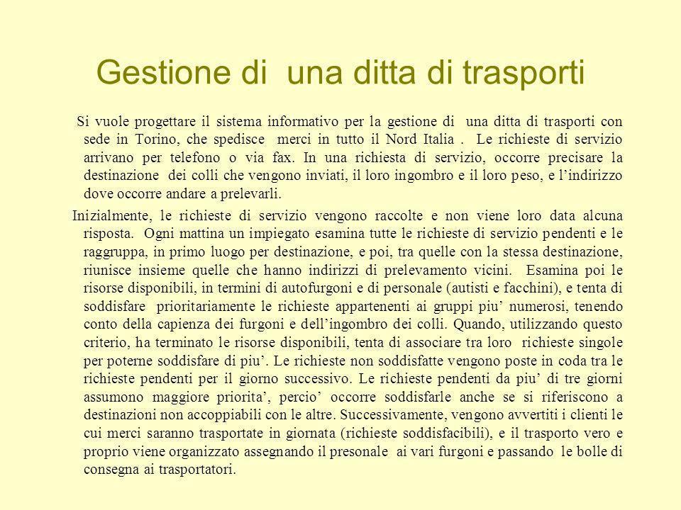 Gestione di una ditta di trasporti Si vuole progettare il sistema informativo per la gestione di una ditta di trasporti con sede in Torino, che spedisce merci in tutto il Nord Italia.