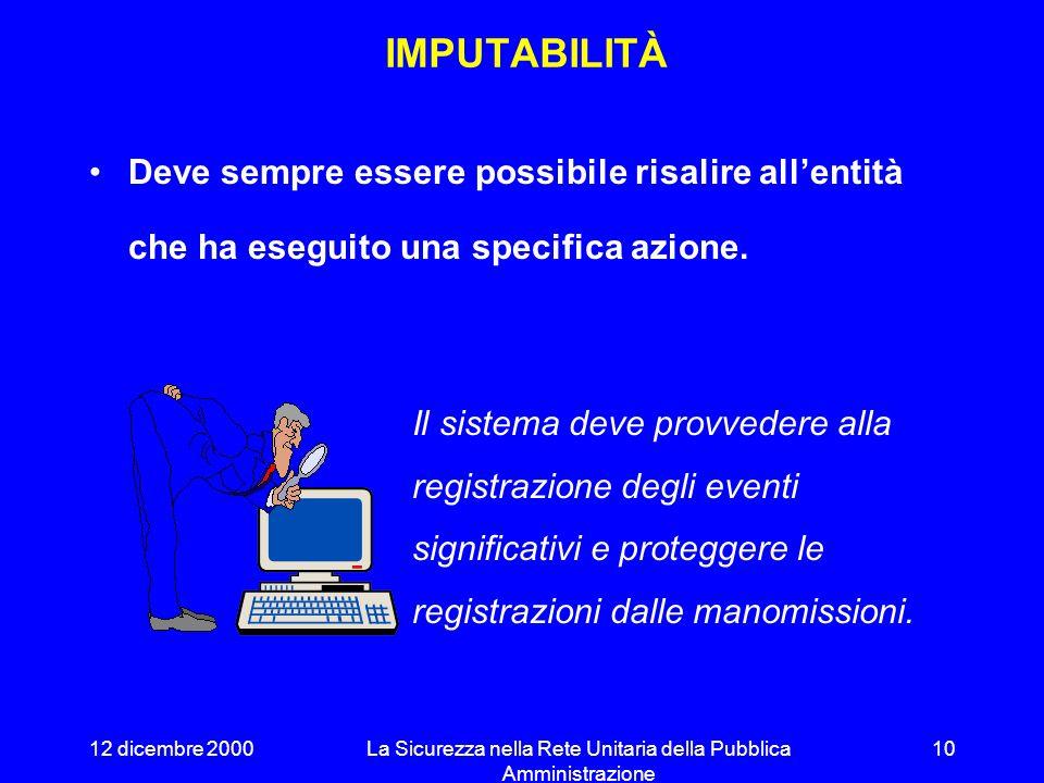 12 dicembre 2000La Sicurezza nella Rete Unitaria della Pubblica Amministrazione 9 Anche la perdita di dati (e.g. a seguito di cancellazione o danneggi