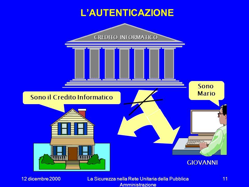 12 dicembre 2000La Sicurezza nella Rete Unitaria della Pubblica Amministrazione 10 Il sistema deve provvedere alla registrazione degli eventi signific