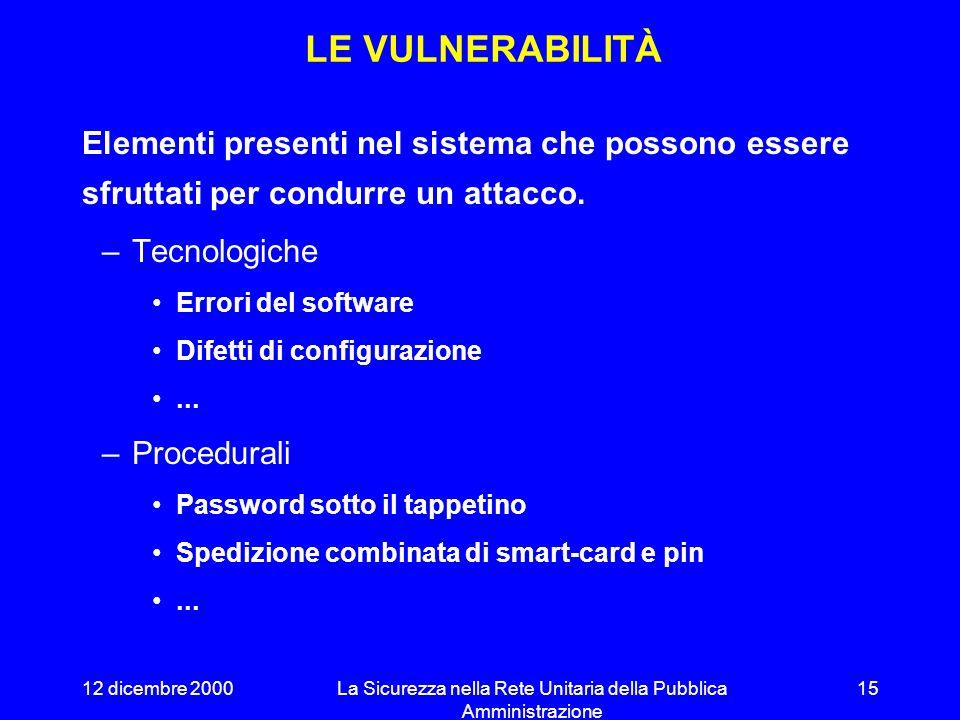 12 dicembre 2000La Sicurezza nella Rete Unitaria della Pubblica Amministrazione 14 LA RIVOLUZIONE COPERNICANA Web e-mail accesso remoto VPN documenti