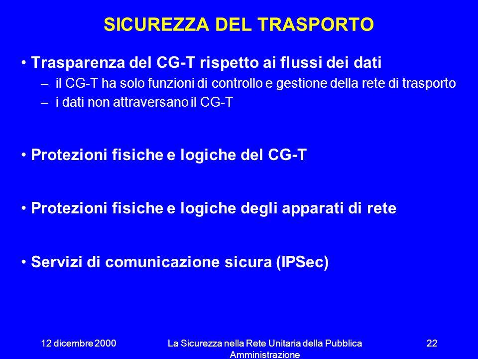 12 dicembre 2000La Sicurezza nella Rete Unitaria della Pubblica Amministrazione 21 STRUTTURA PER LA SICUREZZA Due livelli distinti: Trasporto ed Inter