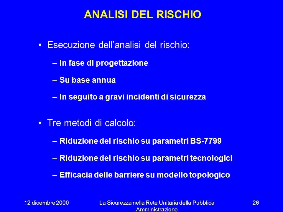 12 dicembre 2000La Sicurezza nella Rete Unitaria della Pubblica Amministrazione 25 PROTEZIONE LOGICA Profili differenziati di accesso ai sistemi ACL s