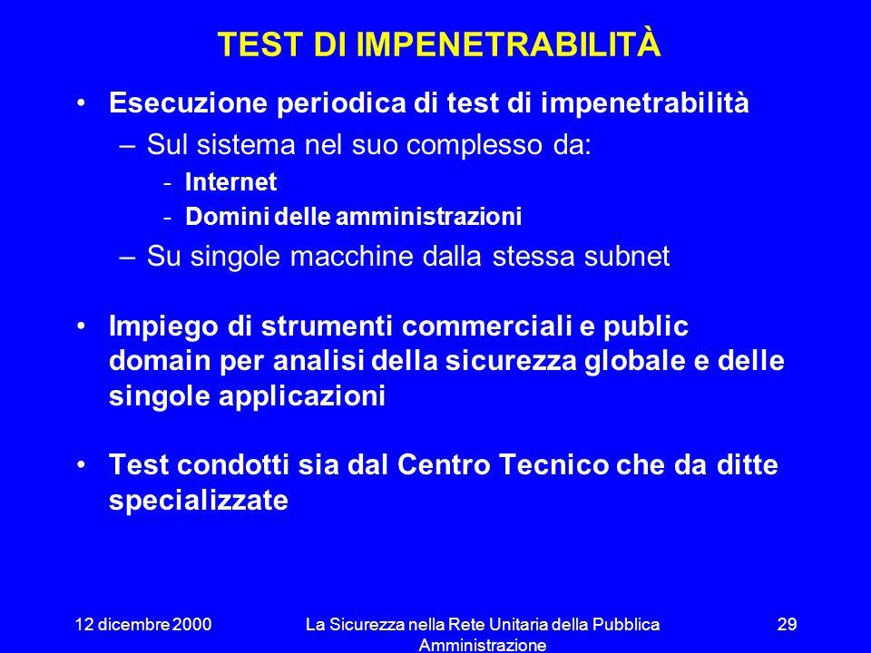 12 dicembre 2000La Sicurezza nella Rete Unitaria della Pubblica Amministrazione 28 Procedura di audit Attività di Auditing Procedura test ciclici di i