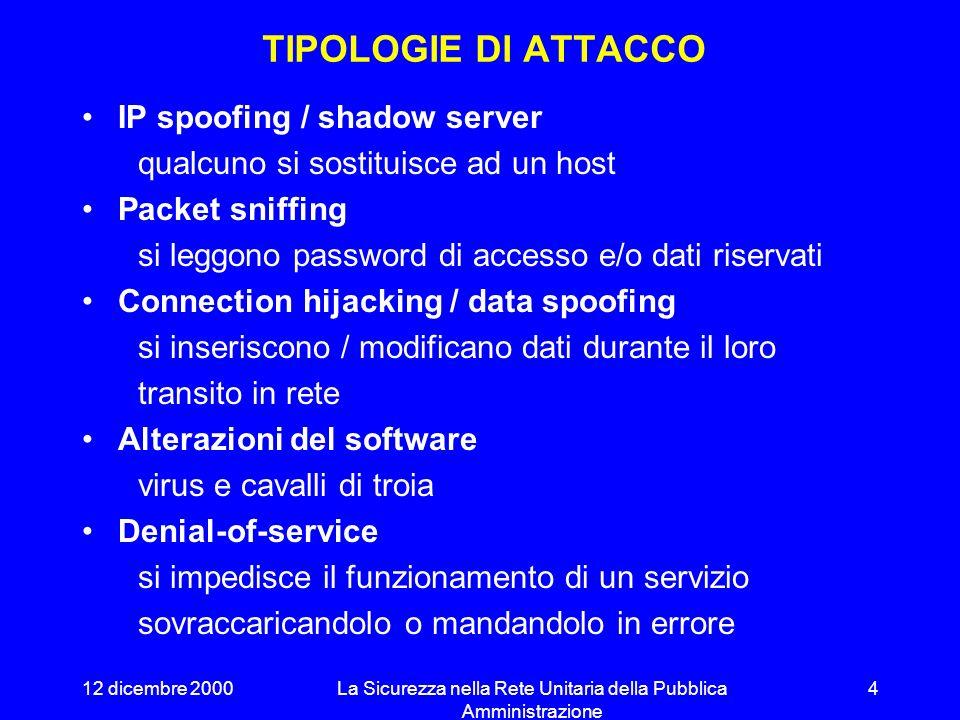 12 dicembre 2000La Sicurezza nella Rete Unitaria della Pubblica Amministrazione 4 TIPOLOGIE DI ATTACCO IP spoofing / shadow server qualcuno si sostituisce ad un host Packet sniffing si leggono password di accesso e/o dati riservati Connection hijacking / data spoofing si inseriscono / modificano dati durante il loro transito in rete Alterazioni del software virus e cavalli di troia Denial-of-service si impedisce il funzionamento di un servizio sovraccaricandolo o mandandolo in errore