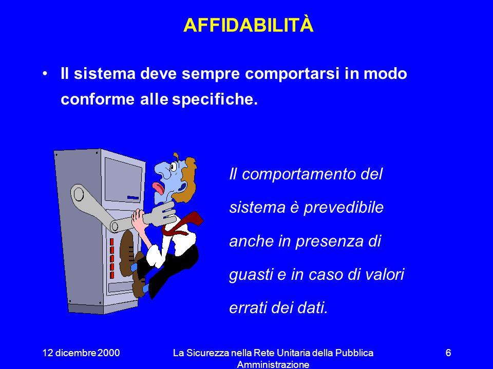 12 dicembre 2000La Sicurezza nella Rete Unitaria della Pubblica Amministrazione 5 OBIETTIVI DELLASICUREZZA INFORMATICA (ISO/IEC TR13335-1) Affidabilità Disponibilità Riservatezza Integrità Imputabilità Autenticità