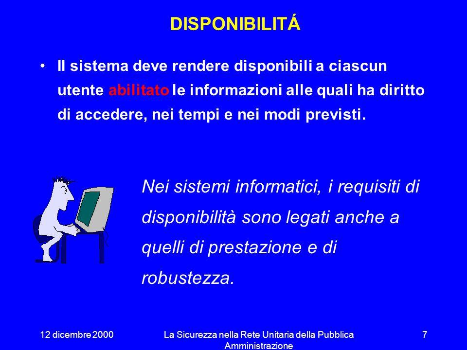 12 dicembre 2000La Sicurezza nella Rete Unitaria della Pubblica Amministrazione 17 LE VERIFICHE Controllo della configurazione Rispetto delle procedure Analisi delle minacce Test di impenetrabilità