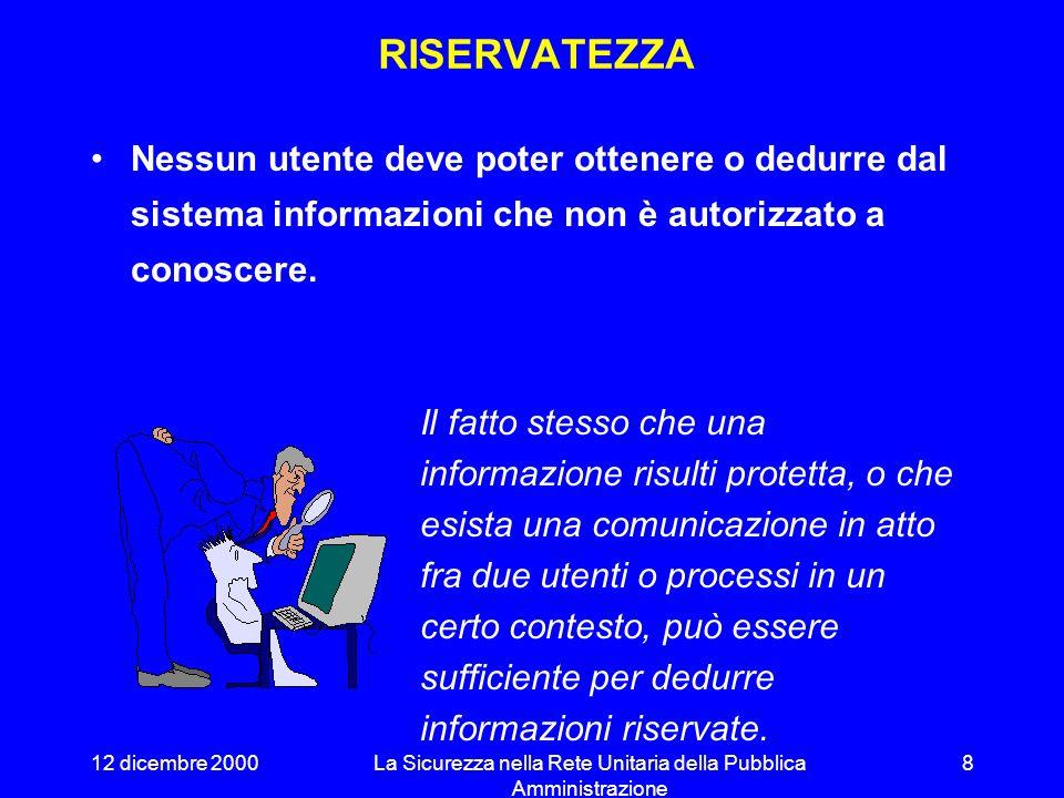 12 dicembre 2000La Sicurezza nella Rete Unitaria della Pubblica Amministrazione 7 Nei sistemi informatici, i requisiti di disponibilità sono legati an