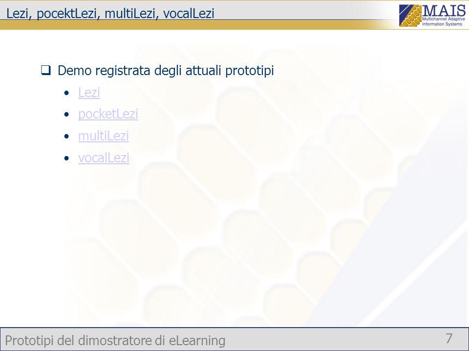 Prototipi del dimostratore di eLearning 7 Lezi, pocektLezi, multiLezi, vocalLezi Demo registrata degli attuali prototipi Lezi pocketLezi multiLezi voc