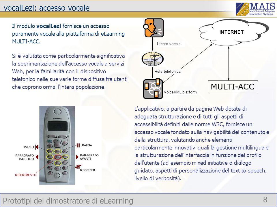 Prototipi del dimostratore di eLearning 8 vocalLezi: accesso vocale Il modulo vocalLezi fornisce un accesso puramente vocale alla piattaforma di eLear