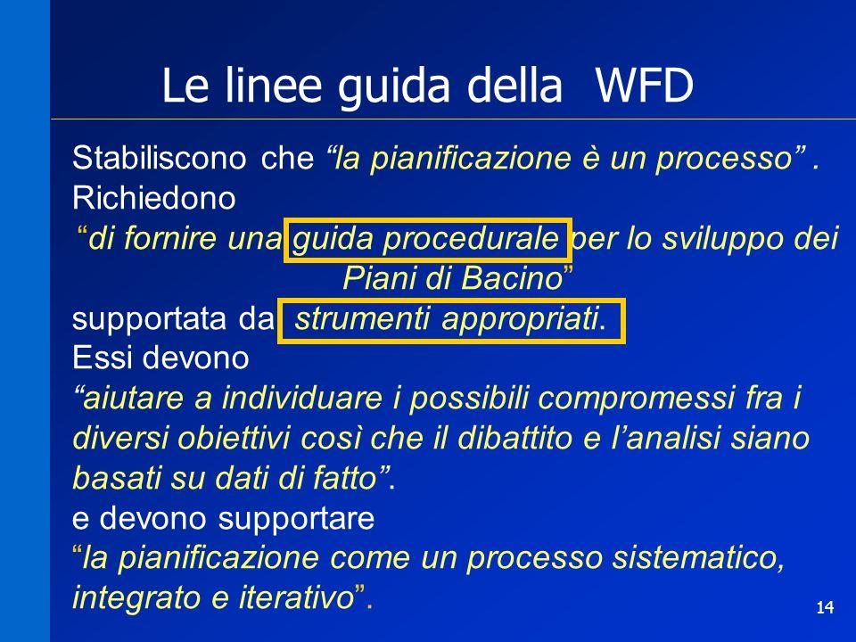 14 Le linee guida della WFD Stabiliscono che la pianificazione è un processo. Richiedono di fornire una guida procedurale per lo sviluppo dei Piani di