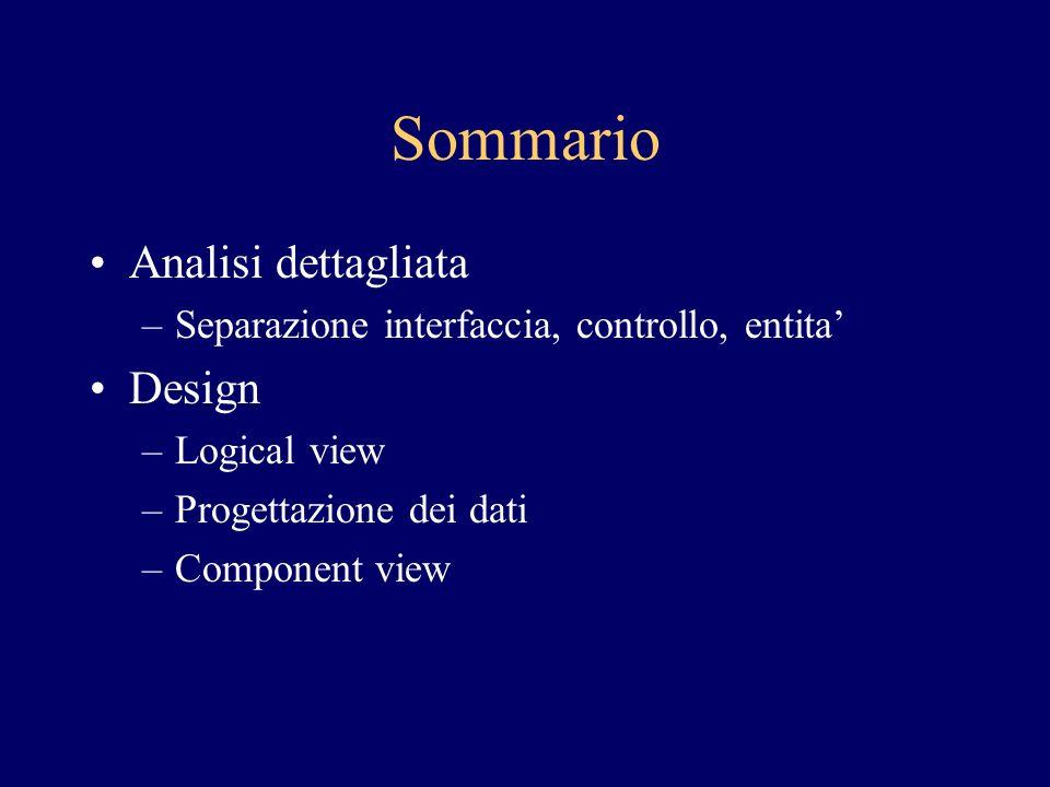Sommario Analisi dettagliata –Separazione interfaccia, controllo, entita Design –Logical view –Progettazione dei dati –Component view