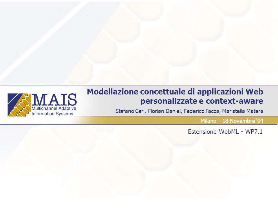 Stefano Ceri, Florian Daniel, Federico Facca, Maristella Matera Modellazione concettuale di applicazioni Web personalizzate e context-aware Estensione