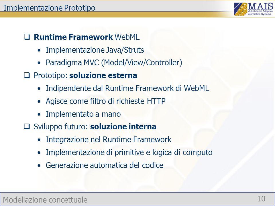 Modellazione concettuale 10 Implementazione Prototipo Runtime Framework WebML Implementazione Java/Struts Paradigma MVC (Model/View/Controller) Protot
