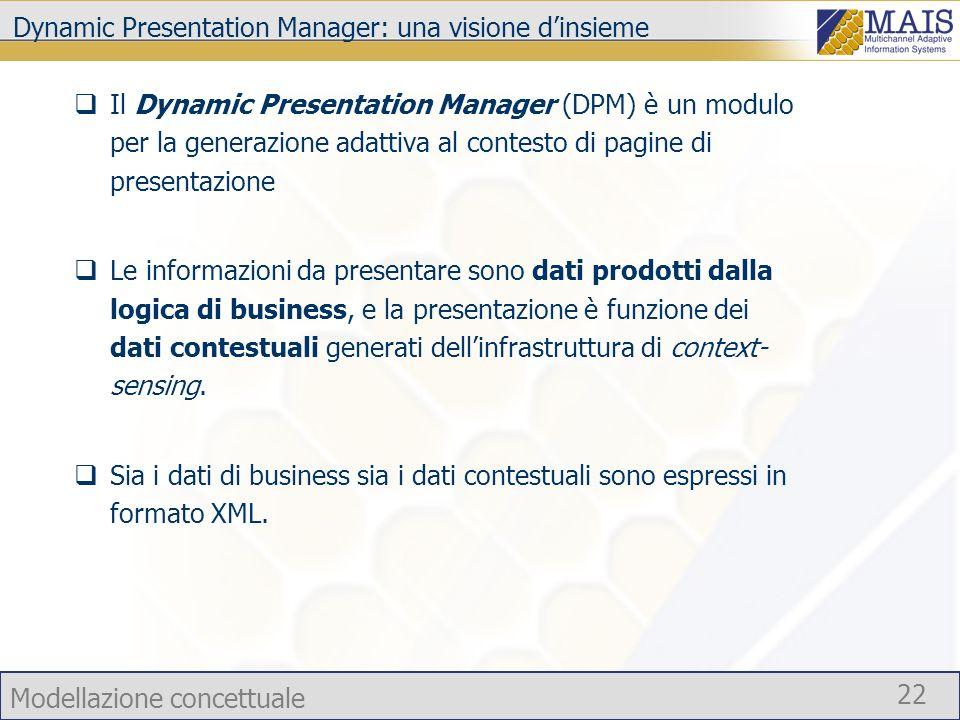 Modellazione concettuale 22 Dynamic Presentation Manager: una visione dinsieme Il Dynamic Presentation Manager (DPM) è un modulo per la generazione ad