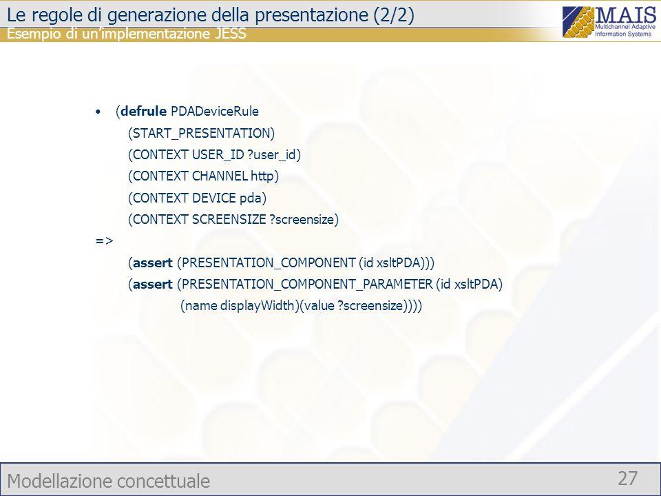 Modellazione concettuale 27 Le regole di generazione della presentazione (2/2) (defrule PDADeviceRule (START_PRESENTATION) (CONTEXT USER_ID ?user_id)