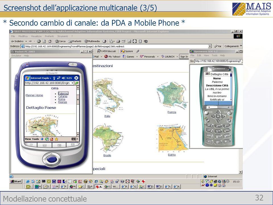 Modellazione concettuale 32 Screenshot dellapplicazione multicanale (3/5) * Secondo cambio di canale: da PDA a Mobile Phone *