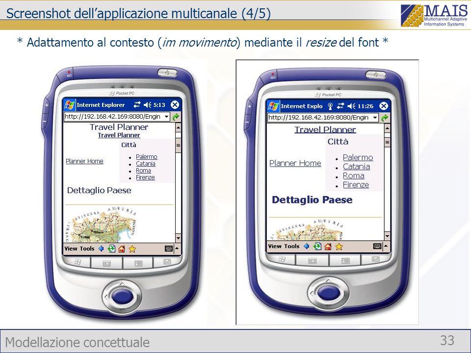 Modellazione concettuale 33 Screenshot dellapplicazione multicanale (4/5) * Adattamento al contesto (im movimento) mediante il resize del font *