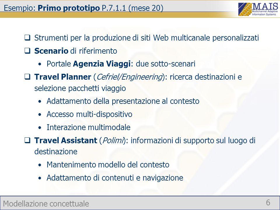 Modellazione concettuale 6 Esempio: Primo prototipo P.7.1.1 (mese 20) Strumenti per la produzione di siti Web multicanale personalizzati Scenario di r