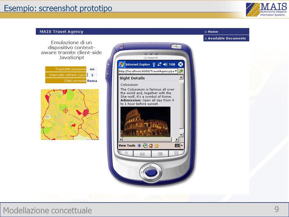 Modellazione concettuale 9 Esempio: screenshot prototipo