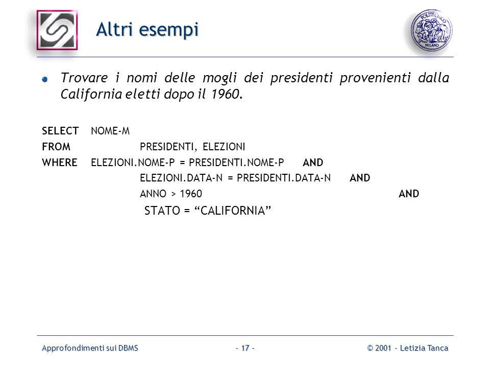 Approfondimenti sui DBMS© 2001 - Letizia Tanca- 17 - Altri esempi Trovare i nomi delle mogli dei presidenti provenienti dalla California eletti dopo i