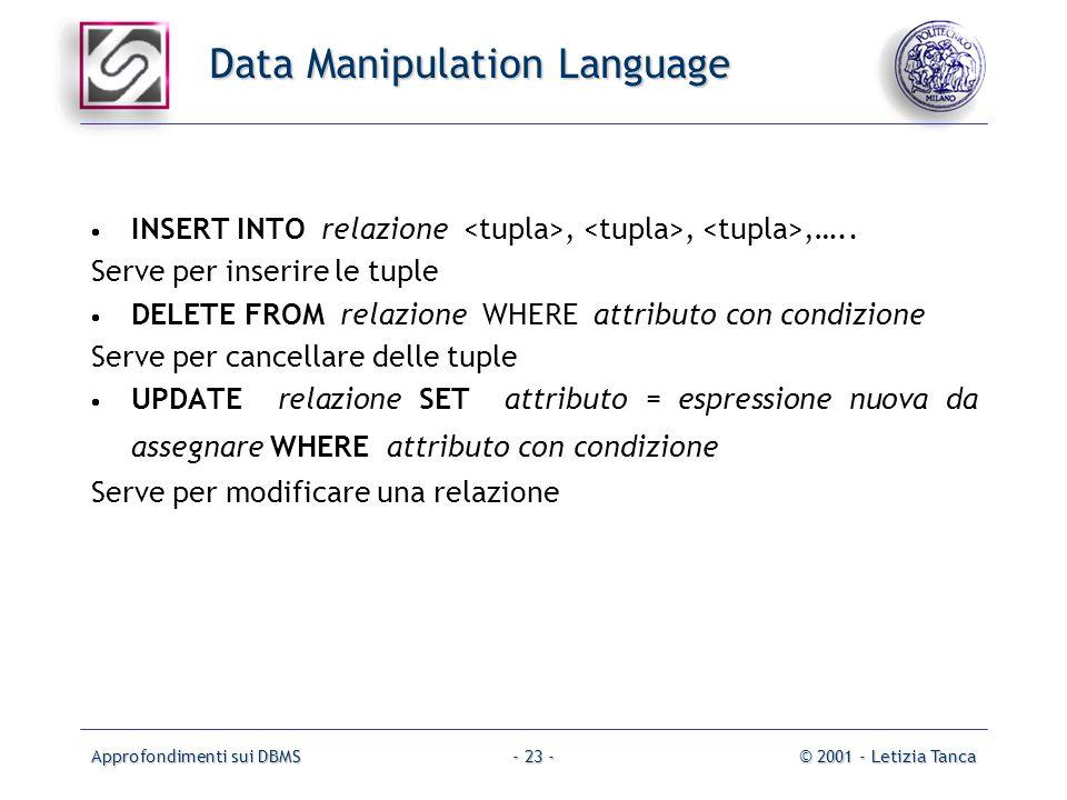 Approfondimenti sui DBMS© 2001 - Letizia Tanca- 23 - Data Manipulation Language INSERT INTO relazione,,,….. Serve per inserire le tuple DELETE FROM re