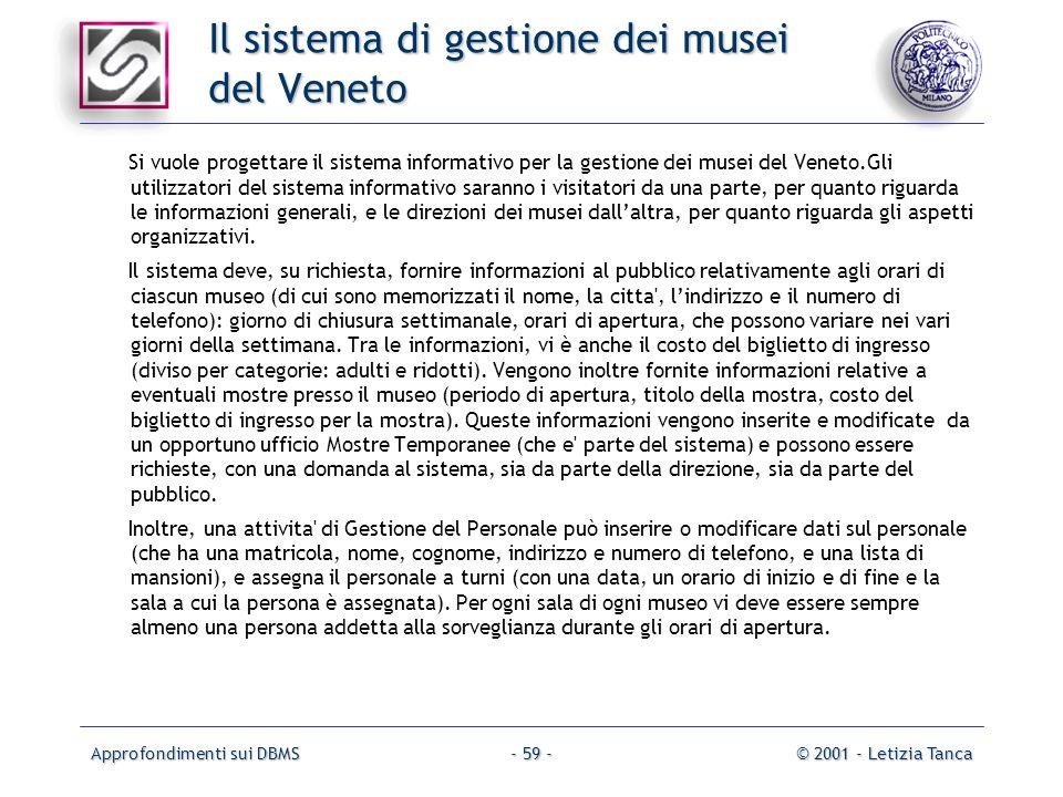Approfondimenti sui DBMS© 2001 - Letizia Tanca- 59 - Il sistema di gestione dei musei del Veneto Si vuole progettare il sistema informativo per la ges