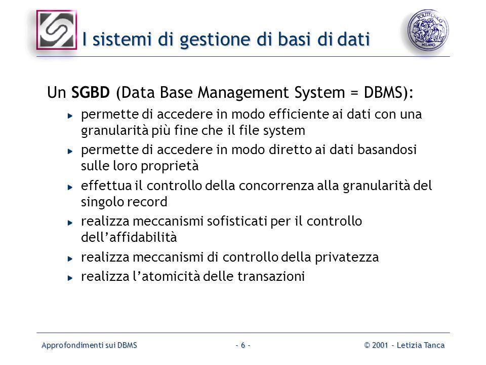 Approfondimenti sui DBMS© 2001 - Letizia Tanca- 6 - I sistemi di gestione di basi di dati Un SGBD (Data Base Management System = DBMS): permette di ac