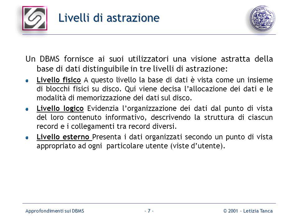Approfondimenti sui DBMS© 2001 - Letizia Tanca- 7 - Livelli di astrazione Un DBMS fornisce ai suoi utilizzatori una visione astratta della base di dat