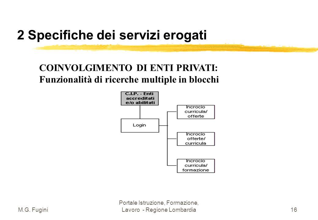 M.G. Fugini Portale Istruzione, Formazione, Lavoro - Regione Lombardia15 2 Specifiche dei servizi erogati Dal matching CV/Offerte alla ricerca di Occa