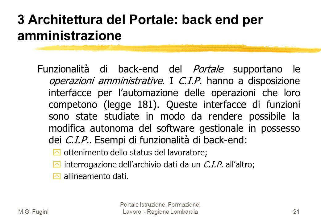 M.G. Fugini Portale Istruzione, Formazione, Lavoro - Regione Lombardia20 3 Architettura del Portale: interfacce z Con il Sistema Informativo Regionale