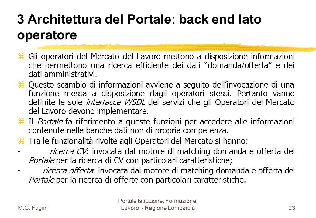 M.G. Fugini Portale Istruzione, Formazione, Lavoro - Regione Lombardia22 3 Architettura del Portale: back end per Fiera dei Lavori Tra le funzionalità