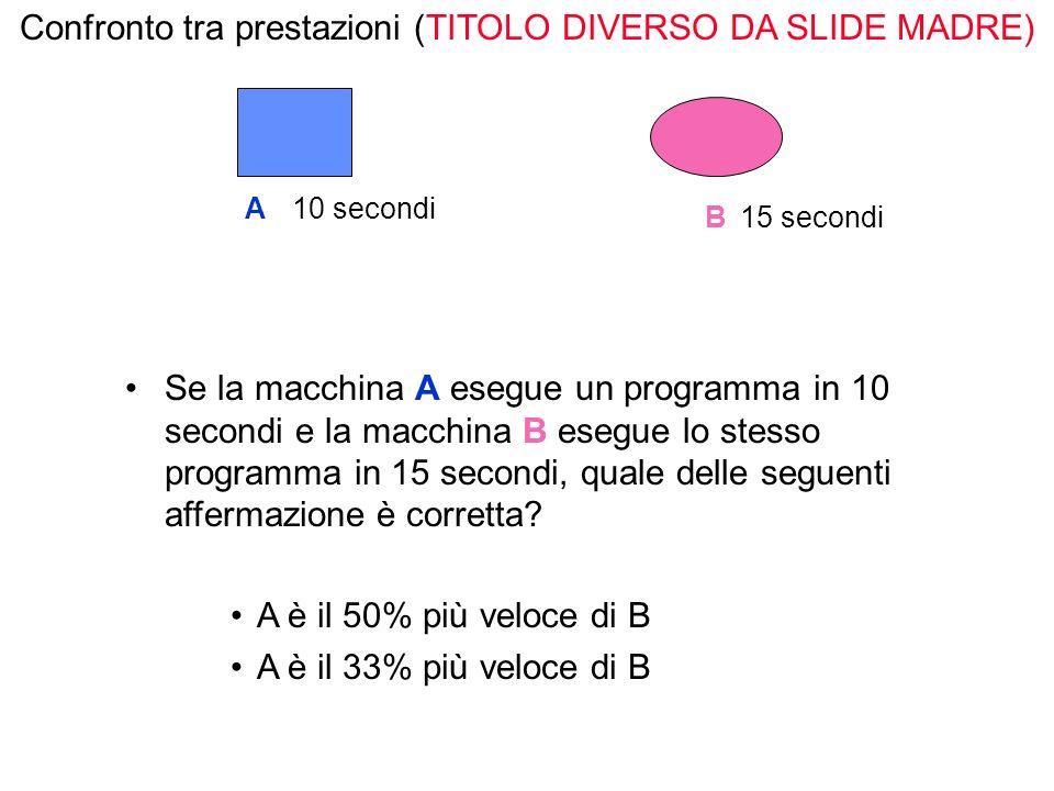 Se la macchina A esegue un programma in 10 secondi e la macchina B esegue lo stesso programma in 15 secondi, quale delle seguenti affermazione è corretta.