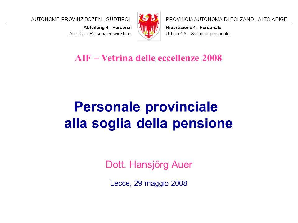 AUTONOME PROVINZ BOZEN - SÜDTIROLPROVINCIA AUTONOMA DI BOLZANO - ALTO ADIGE Ripartizione 4 - PersonaleAbteilung 4 - Personal Amt 4.5 – Personalentwick