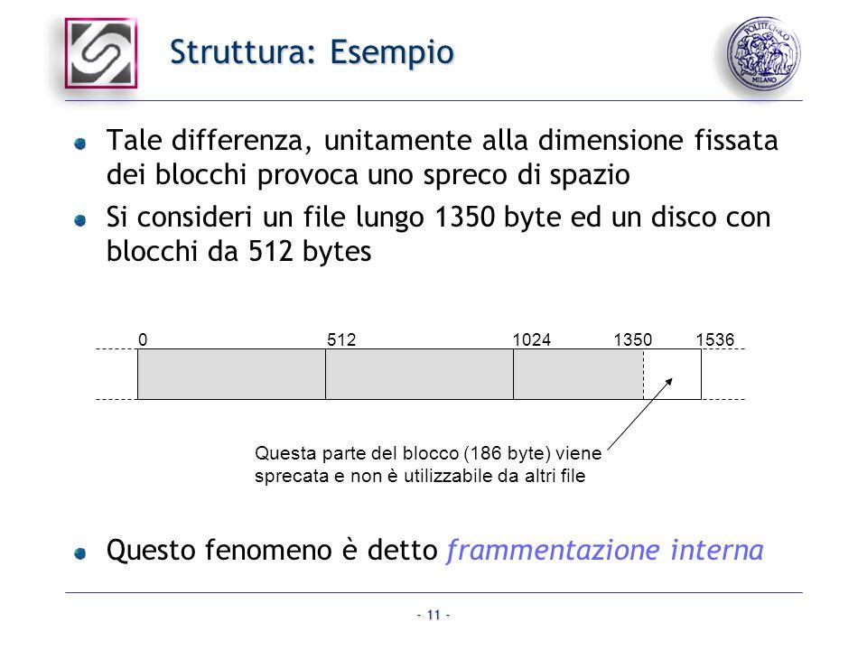 - 11 - Struttura: Esempio Tale differenza, unitamente alla dimensione fissata dei blocchi provoca uno spreco di spazio Si consideri un file lungo 1350
