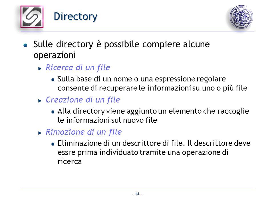 - 14 - Directory Sulle directory è possibile compiere alcune operazioni Ricerca di un file Sulla base di un nome o una espressione regolare consente d