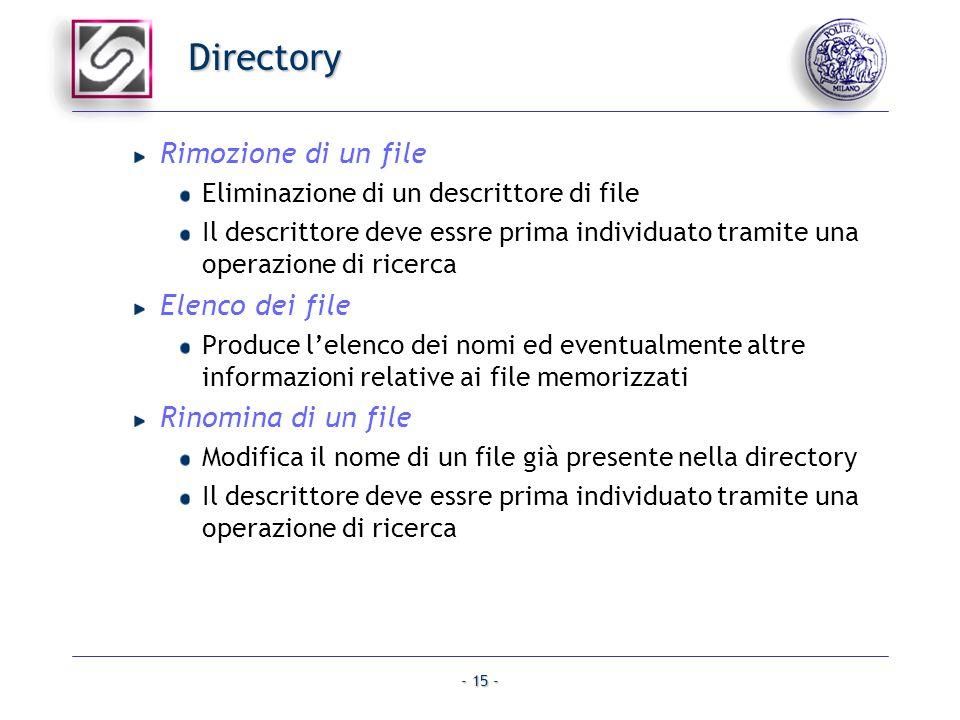 - 15 - Directory Rimozione di un file Eliminazione di un descrittore di file Il descrittore deve essre prima individuato tramite una operazione di ric