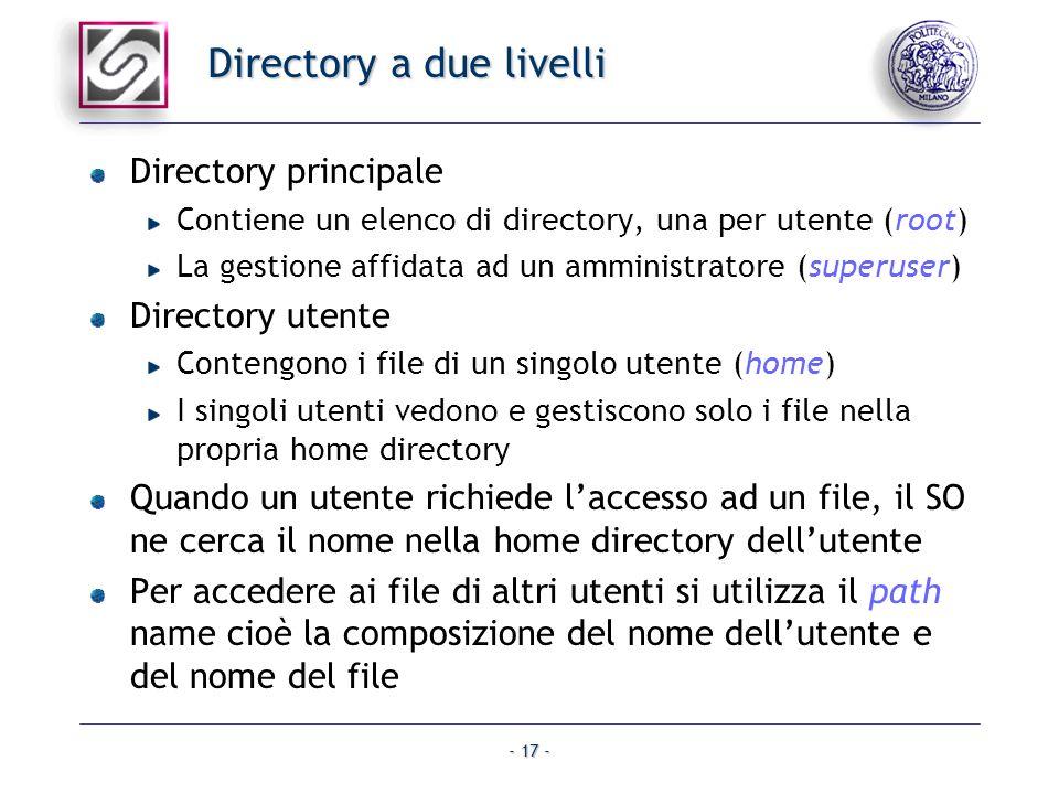 - 17 - Directory a due livelli Directory principale Contiene un elenco di directory, una per utente (root) La gestione affidata ad un amministratore (