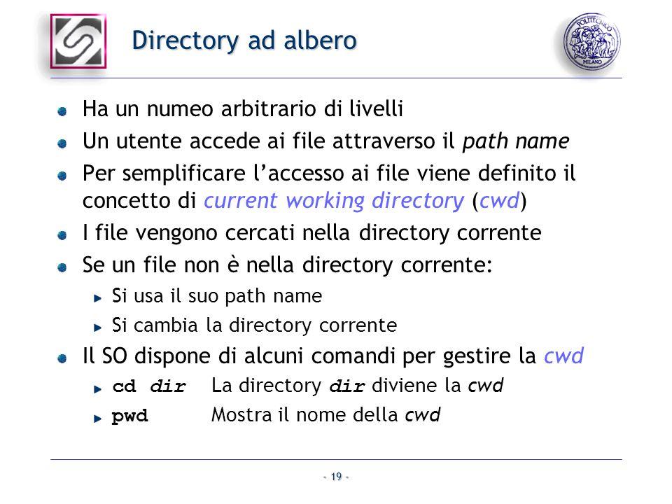 - 19 - Directory ad albero Ha un numeo arbitrario di livelli Un utente accede ai file attraverso il path name Per semplificare laccesso ai file viene