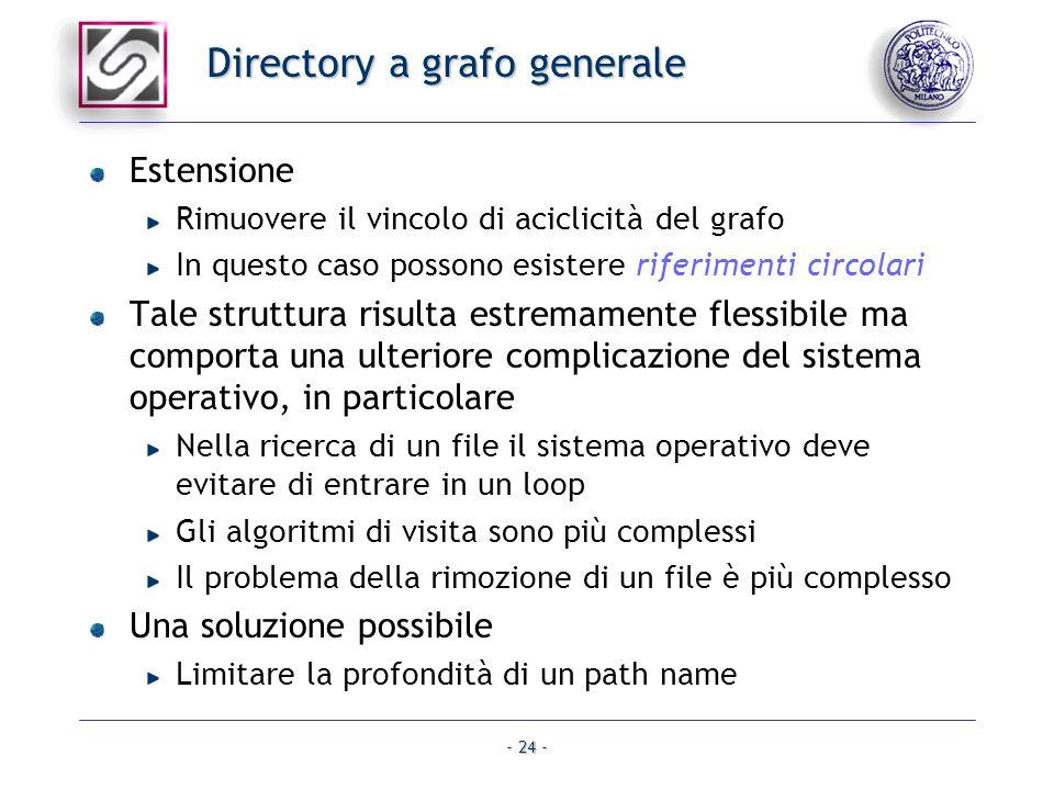 - 24 - Directory a grafo generale Estensione Rimuovere il vincolo di aciclicità del grafo In questo caso possono esistere riferimenti circolari Tale s