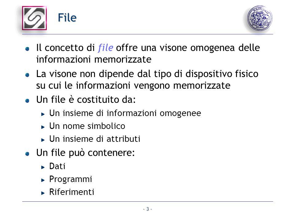 - 3 - File Il concetto di file offre una visone omogenea delle informazioni memorizzate La visone non dipende dal tipo di dispositivo fisico su cui le